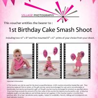 1st birthday cake smash girl gift voucher, Hebburn, Newcastle. Village Photography