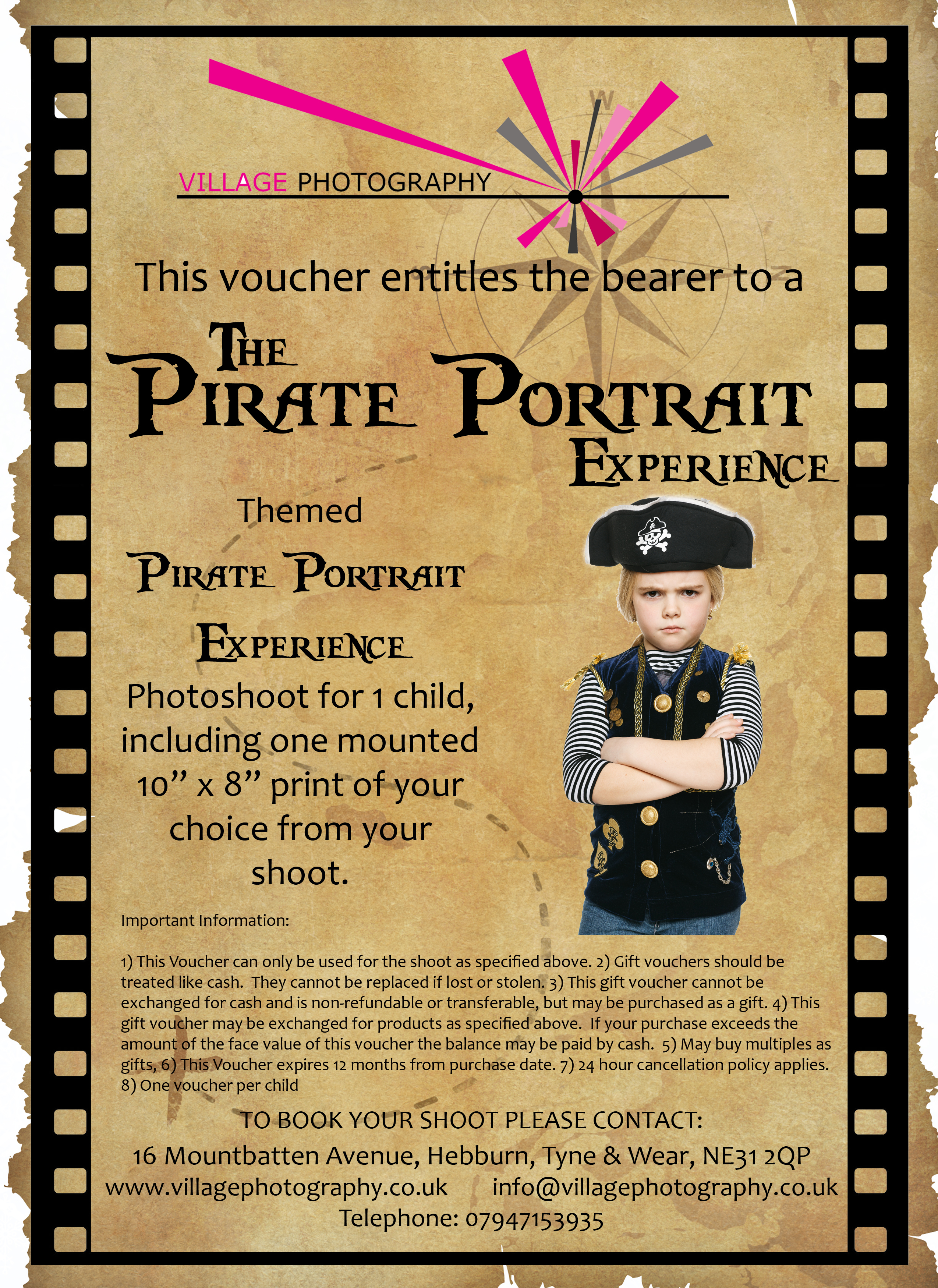 Pirate Themed Photo Shoot Gift Voucher, Village Photography, Newcastle.