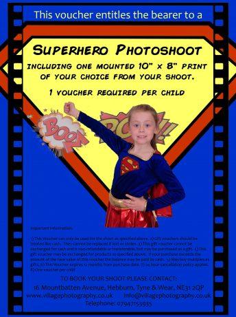 Superhero Themed Photo Shoot Gift Voucher, Village Photography, Newcastle.