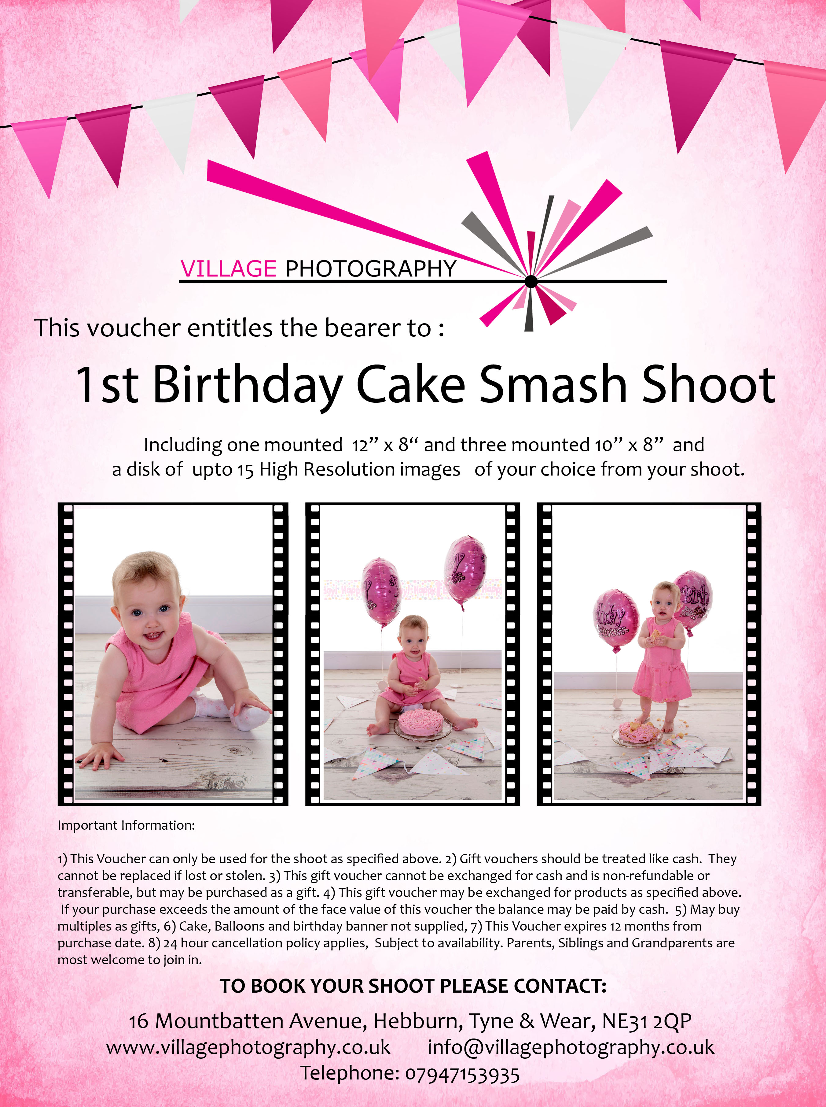 1st Birthday Cake Smash Package 3 Girl Village Photography